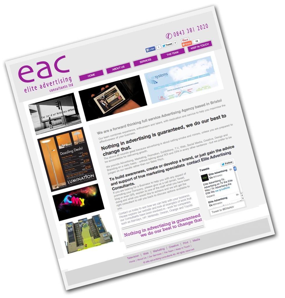 Elite Advertising Consultants website Search Engine Optimisation