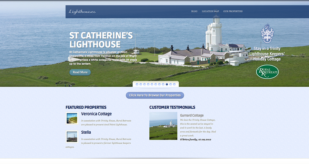 Rural Retreats Lighthouses homepage