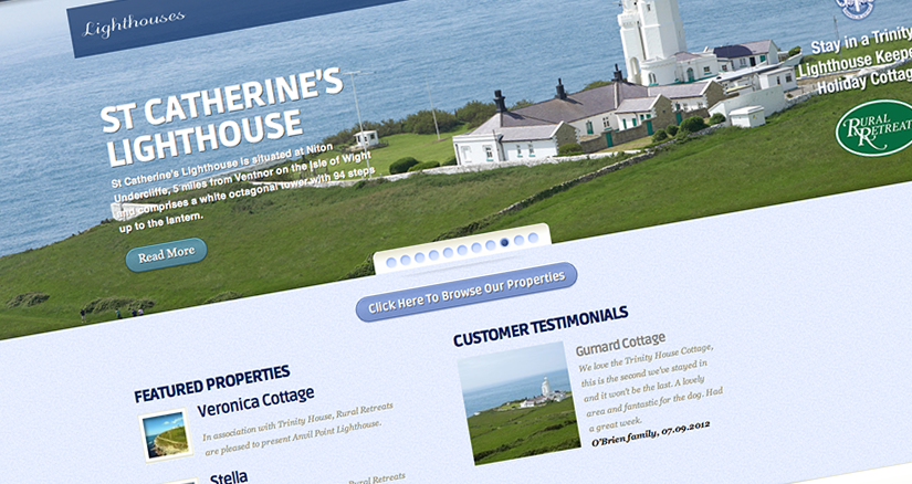 Rural Retreats Lighthouses microsite