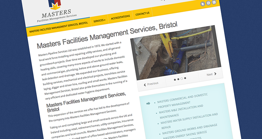 Masters Facilities Management Services, Bristol website