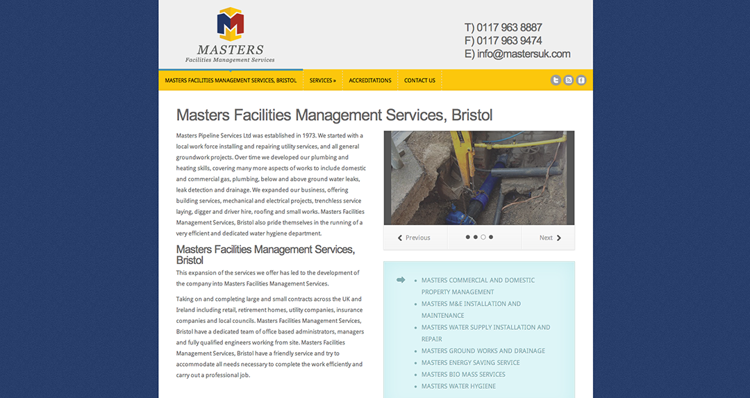 Masters Facilities Management Services homepage
