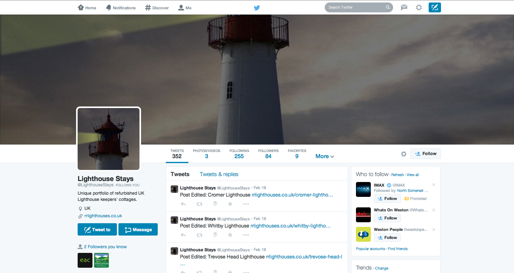 Rural Retreats Lighthouses Twitter Page