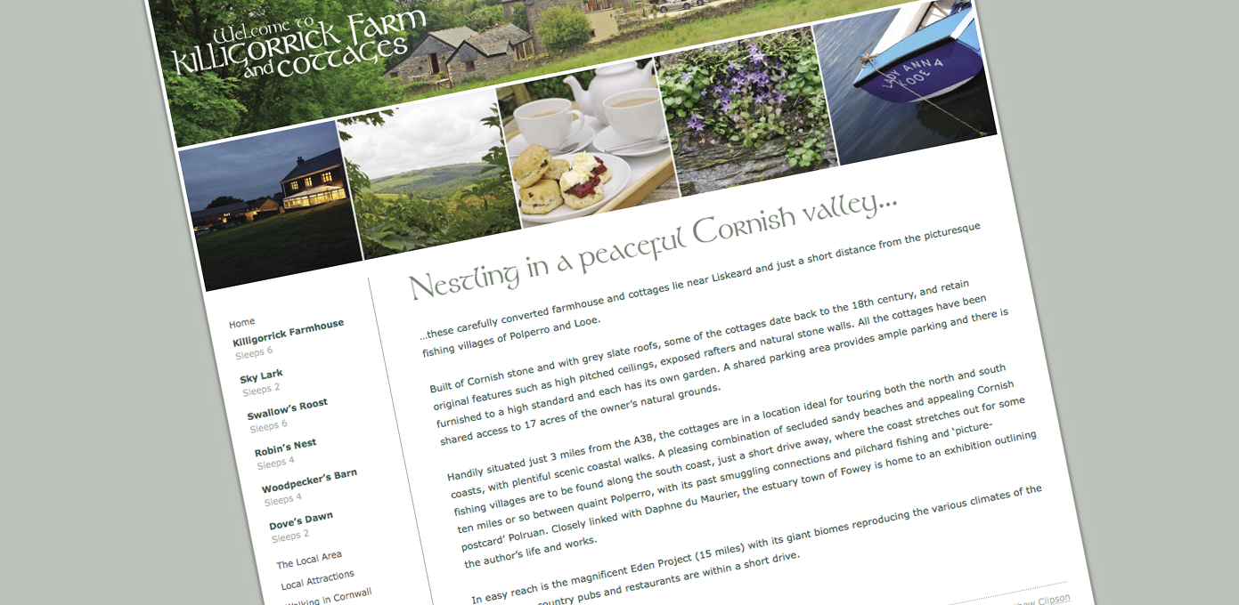 Killigorrick Farm and Cottages Website update