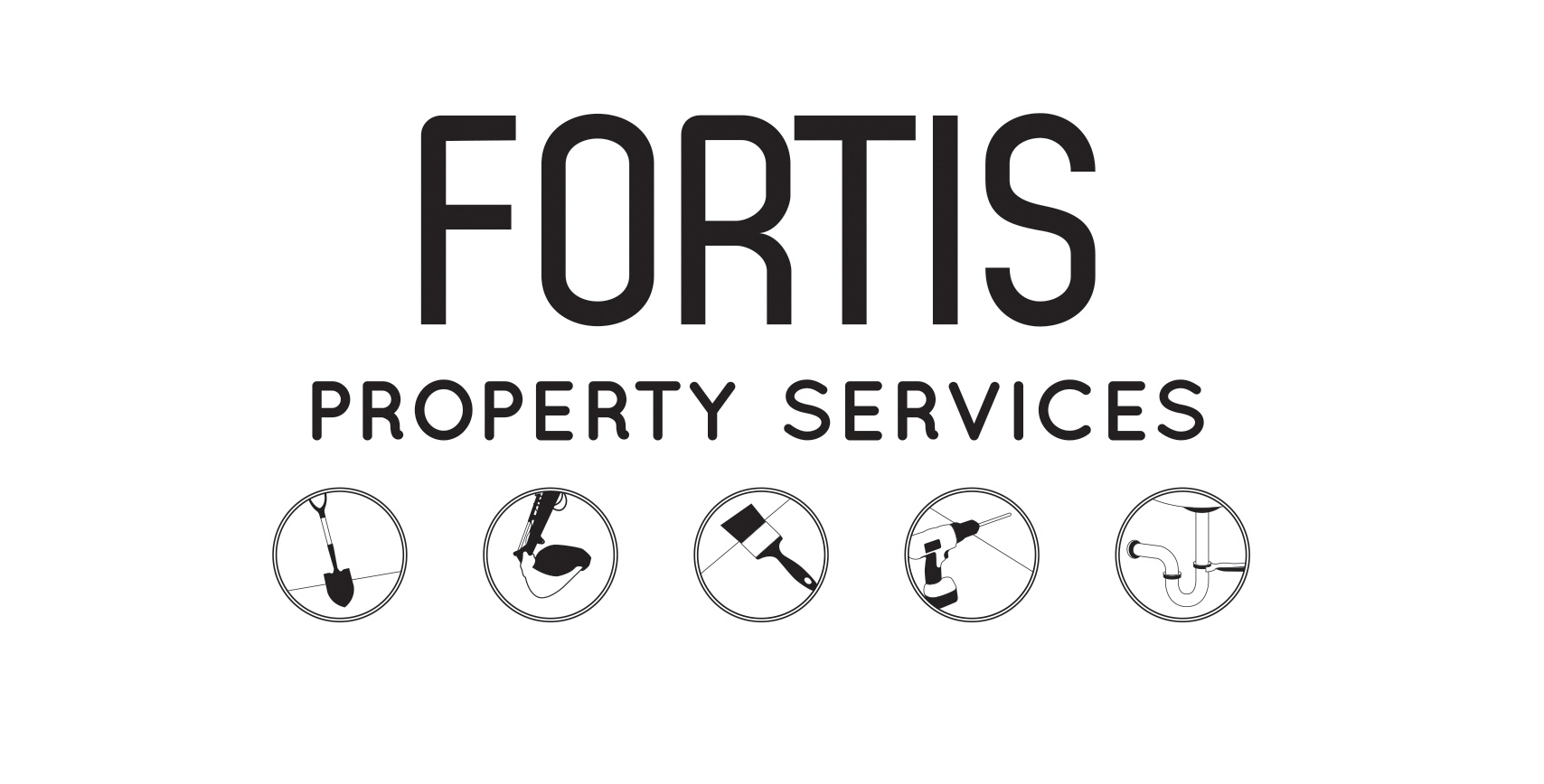 Fortis Property Services Logo second alternative black & white