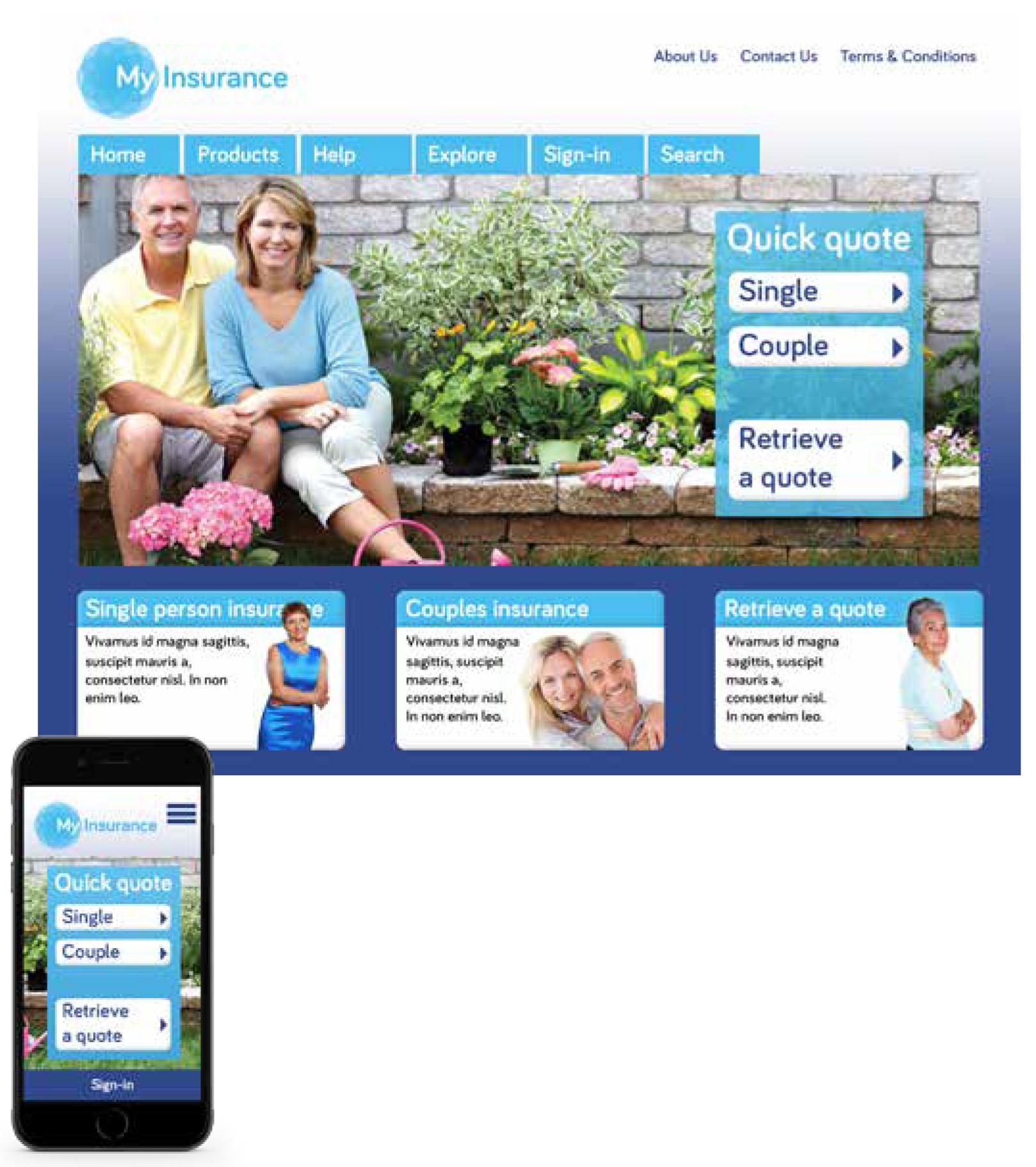myInsurance Web Page