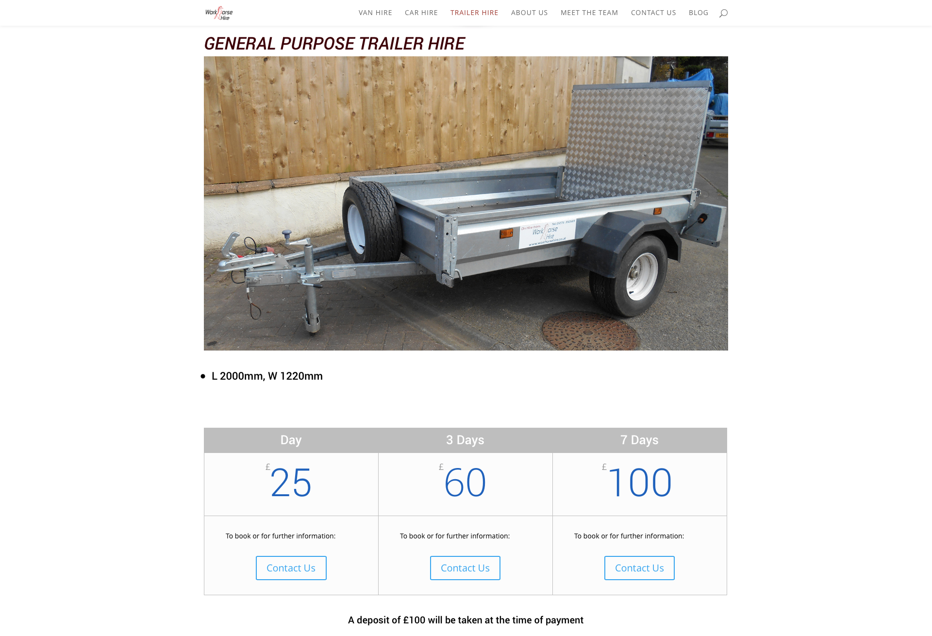 trailer Hire Page