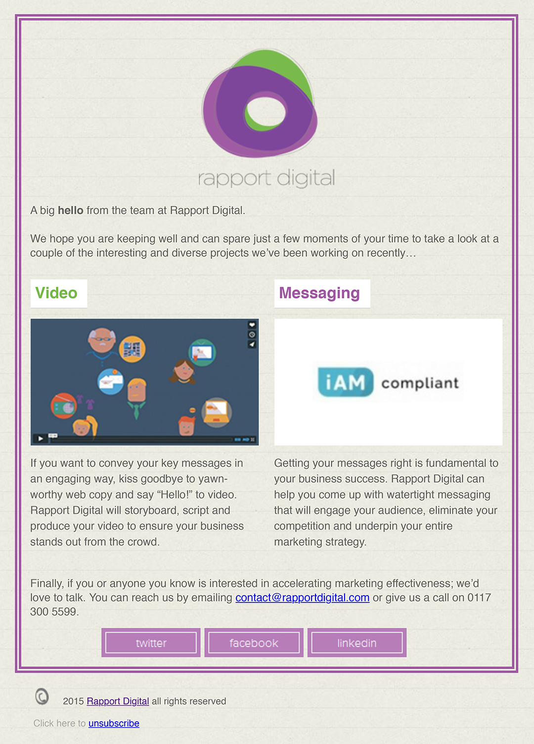 Rapport Digital responsive email newsletter