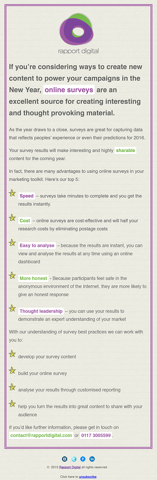 Online Surveys Email