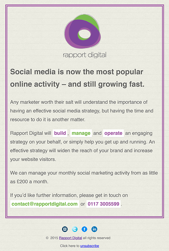 Social Media Marketing Email