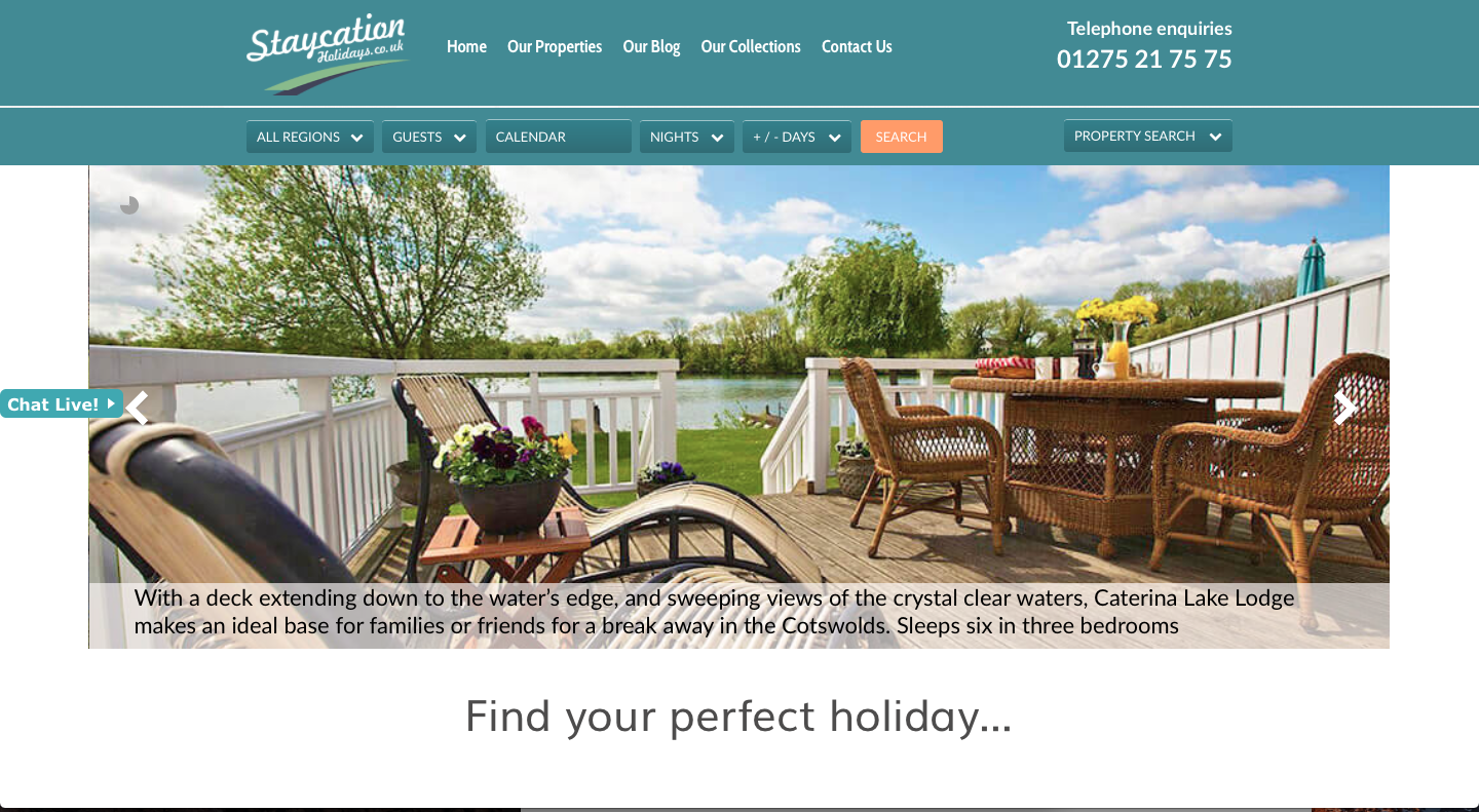 Staycation Holidays homepage