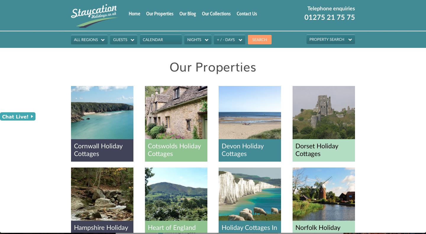 Staycation Holidays Regions Page