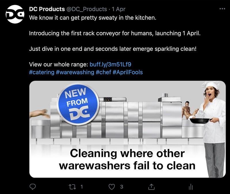 Image showing April fools warewasher tweet