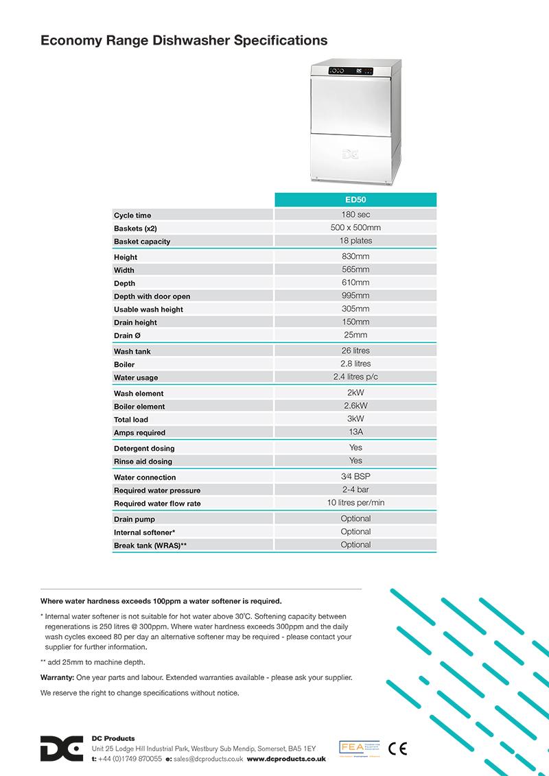 Image showing back of Economy Dishwashers product flyer