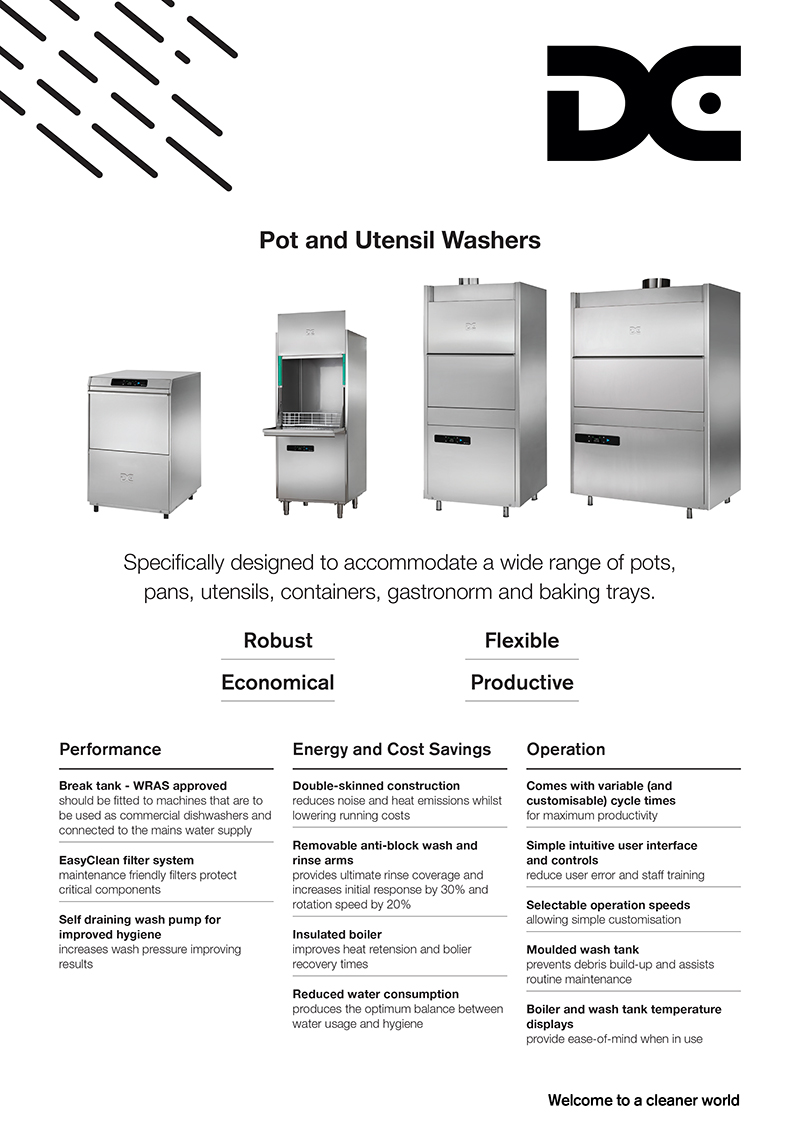 Image showing front of Pot and Utensil Washers product flyer