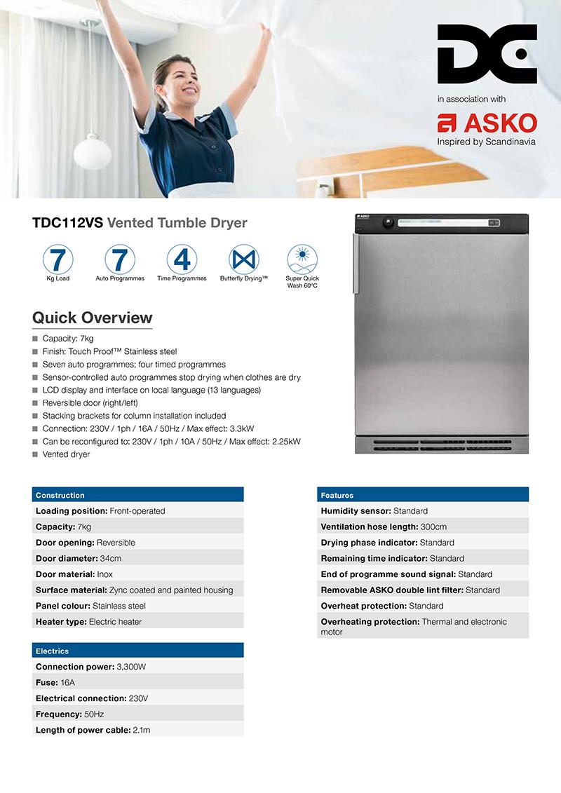 Front of ASKO tumble dryer flyer